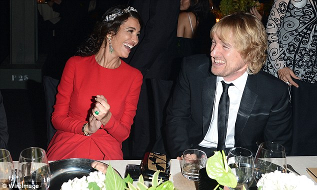 Happy and relaxed: Owen Wilson laughed with stunning model Afef Jnifen over dinner