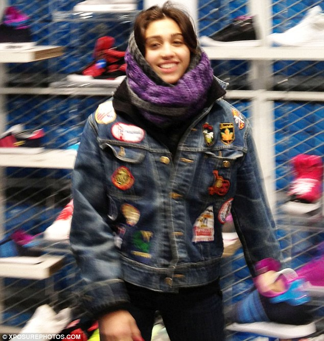 Shopping trip: Lourdes paid a visit to the Adidas store on Sunday