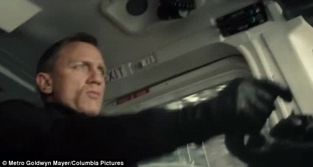 Back to his best: Bond is at his action-packed best in the clip and one sequence sees him flying a plane
