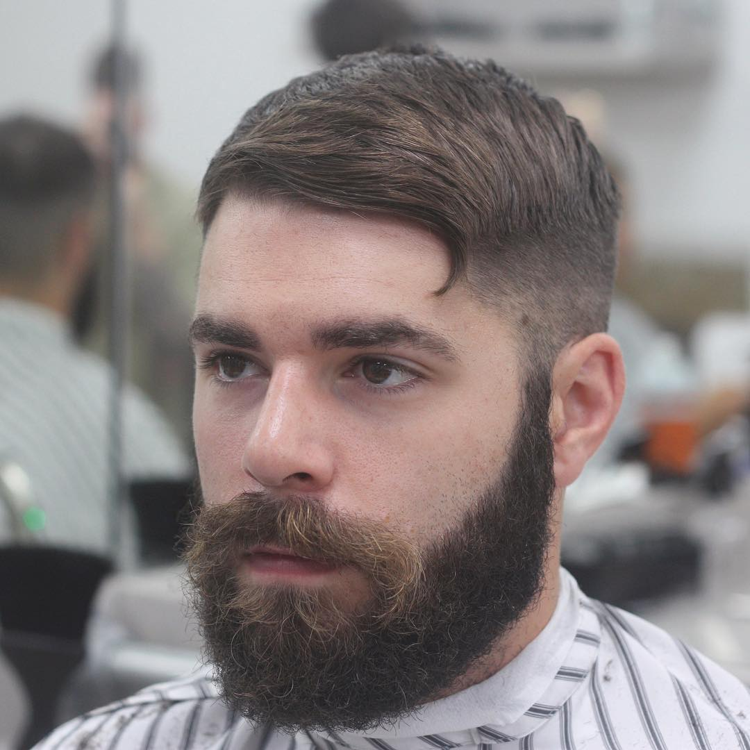 Textured comb over haircut